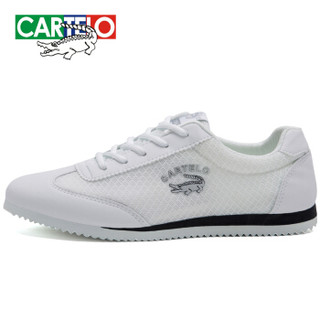 CARTELO 卡帝乐鳄鱼 KDLK20 男士网面运动鞋 白色 42