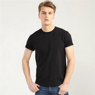 GIORDANO 佐丹奴 1313028250 男士修身圆领短袖T恤 黑 175/100A