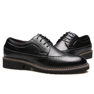 CARTELO 卡帝乐鳄鱼 5002 男士商务休闲皮鞋 黑色 41