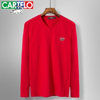 CARTELO 16057KE9502 男士纯色V领长袖T恤 大红 XL
