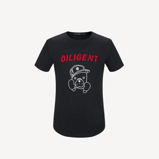 HLA 海澜之家 HNTBJ2E016A 男士狗年贺岁款印花短袖T恤 黑色花纹 56
