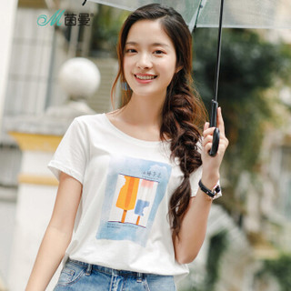 INMAN 茵曼 1882022785H 女士短袖T恤 珍珠白-冰棍杂志 XL
