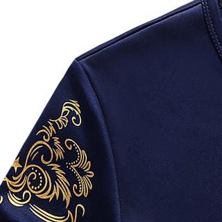 CARTELO 18127KE803 男士短袖T恤短裤套装 蓝色 L