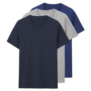GIORDANO 佐丹奴 01245504 男士圆领短袖T恤 3件装 灰/蓝/蓝 170/96A