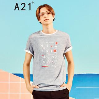 A21 4821330118 男士圆领印花短袖T恤 花灰 XL