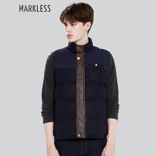 Markless YRA7354M 男士90白鸭绒背心立领修身羽绒马甲 藏青色 L