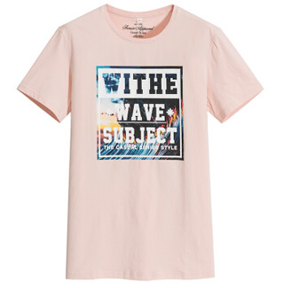 Semir 森马 12216001017 男士圆领印花T恤 粉红 M