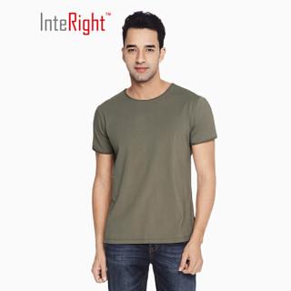 INTERIGHT 棉氨圆领 修身个性卷边 短袖T恤 灰绿色 M码