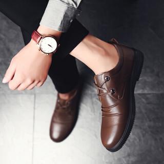 CARTELO 卡帝乐鳄鱼 KDLBCS09 男士商务休闲皮鞋 棕色 43
