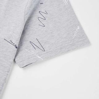 HLA 海澜之家 HNTBJ2E121A 男士时尚印花短袖T恤 中灰花纹 46