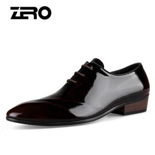 ZERO 93057 男士尖头商务皮鞋 酒红 43