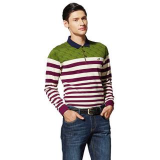 CARTELO 16001KE0905 男士休闲条纹撞色拼接长袖T恤 紫色 M
