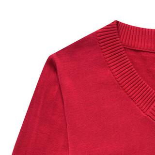 CARTELO 16018KE12291 男士修身V领套头针织衫 红色 3XL