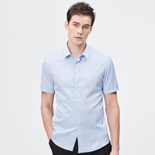 FIRS 杉杉 TSB1240-1D 男士天丝条纹短袖衬衫 蓝色 42