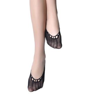 皮尔卡丹船袜短丝袜女短袜12双装不易勾丝女夏日船袜带胶黑色均码PC32006A-5-20X12