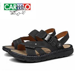 CARTELO 卡帝乐鳄鱼 KDLBCS12 男士牛皮凉鞋 黑色 41