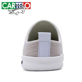 CARTELO 卡帝乐鳄鱼 KDL1301 男士亚麻包头凉拖鞋 米色 40