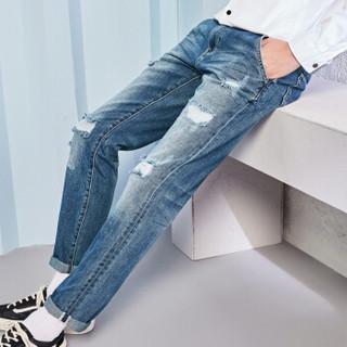 Semir 森马 17017241024 男士破洞直筒牛仔长裤 牛仔深蓝 32