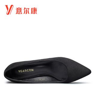 YEARCON 意尔康 7151ZA29855W 女士细跟尖头高跟鞋 黑色 36