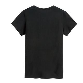 Semir 森马 19216001806 男士纯色半袖T恤 黑色 XL