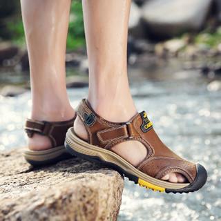 CARTELO 卡帝乐鳄鱼 KDLBCS01 男士罗马包头凉鞋 红棕 40