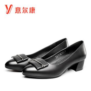 YEARCON 意尔康 8151DA26802W 女士粗跟单鞋 黑色 36
