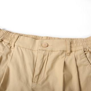 森马 13216260063 女士纯色直筒七分裤 浅卡其 27