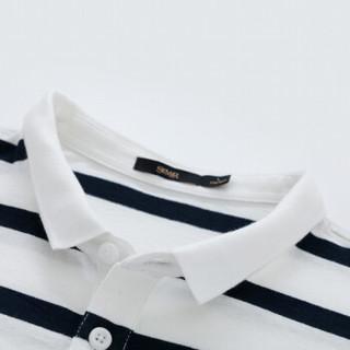 Semir 森马 19048001276 男士短袖polo衫 白蓝色调 XS