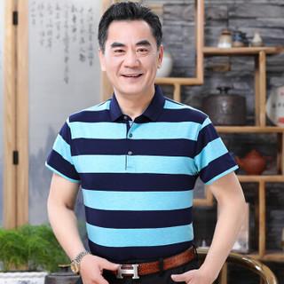 男士休闲条纹短袖T恤 浅蓝 L