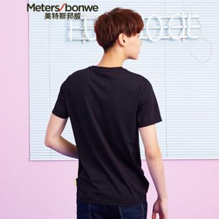 Meters bonwe 美特斯邦威 661465 男士运动图案短袖T恤 影黑 175/96