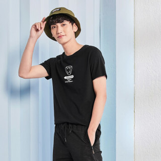 Semir 森马 19038001202 男士短袖T恤 黑色 S