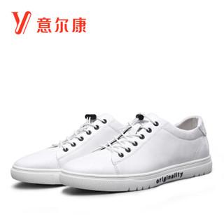 YEARCON 意尔康 7112ZR97548W 男士圆头休闲鞋 白色 41