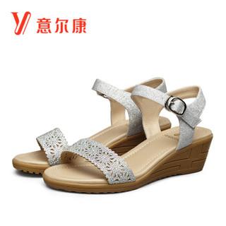 YEARCON 意尔康 8353ZL29901W 女士坡跟一字扣带凉鞋 银色 37