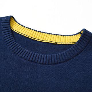 CARTELO 16018KE12311 男士纯色圆领长袖针织衫 深蓝 2XL