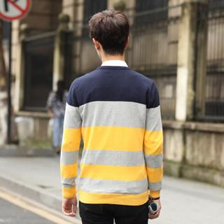 CARTELO 17017KE2201 男士条纹长袖针织衫 黄色 XL