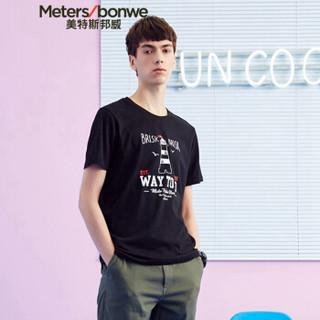 Meters bonwe 美特斯邦威 661426 男士卡通短袖T恤 影黑 175/96