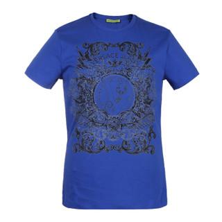 VERSACE JEANS 范思哲 奢侈品 春夏款 男士蓝色棉质圆领印花短袖T恤 B3GRB71A 36598 243 S码