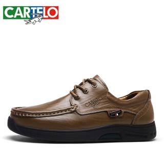 CARTELO 卡帝乐鳄鱼 KDLBCS06 男士商务休闲皮鞋 卡其 44