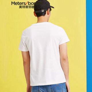Meters bonwe 美特斯邦威 661367 男士倾斜大字母短袖T恤 亮白 170/92
