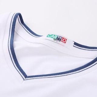 CARTELO V1709 男士修身短袖T恤 白色 3XL