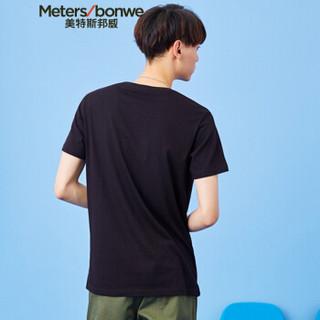 Meters bonwe 美特斯邦威 661250 男士贴标口袋短袖T恤 影黑 180/100