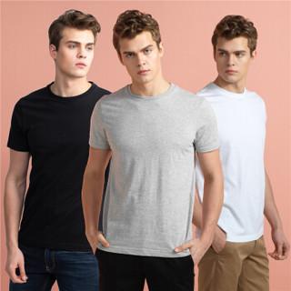 GIORDANO 佐丹奴 01245504 男士圆领短袖T恤 3件装 白/黑/灰 180/104A