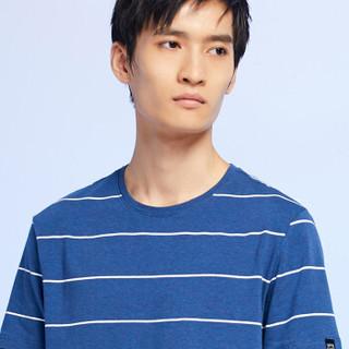 HLA 海澜之家 HNTBJ2E166A 男士活力条纹短袖T恤 牛仔蓝条纹 50