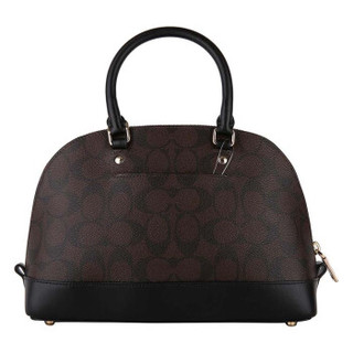 COACH 蔻驰 奢侈品 女士深棕色配黑底PVC配皮手提斜挎包贝壳包小号 F58295 IMAA8