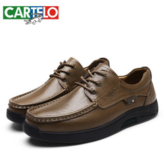 CARTELO 卡帝乐鳄鱼 KDLBCS06 男士商务休闲皮鞋 卡其 42