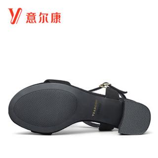 YEARCON 意尔康 7451ZL29981W 女士粗跟一字带凉鞋 黑色 35