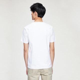 HLA 海澜之家 HNTBJ2E083A 男士印花短袖T恤 漂白花纹 48