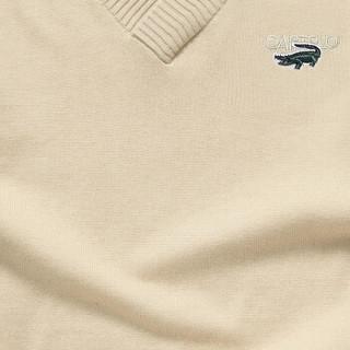 CARTELO 16018KE12291 男士修身V领套头针织衫 杏色 M