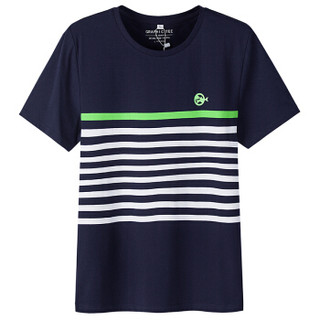 Semir 森马 12216001013 男士撞色条纹短袖T恤 蓝白色调 M