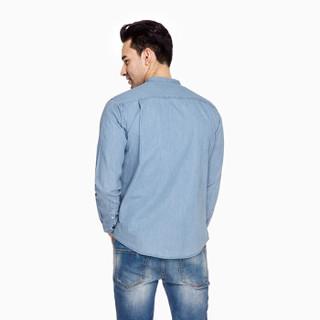 INTERIGHT休闲衬衫男 牛津纺立领牛仔长袖衬衫 浅蓝色 XL